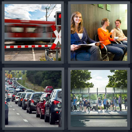 4 Pics 1 Word Answer 4 letters for train going by fast, woman at doctor office, stopped traffic on highway, people at bus stop