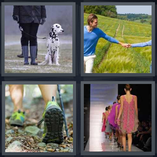 4 Pics 1 Word Answer 4 letters for person out with Dalmatian dog, couple in green field, person hiking in woods, models on runway at fashion show