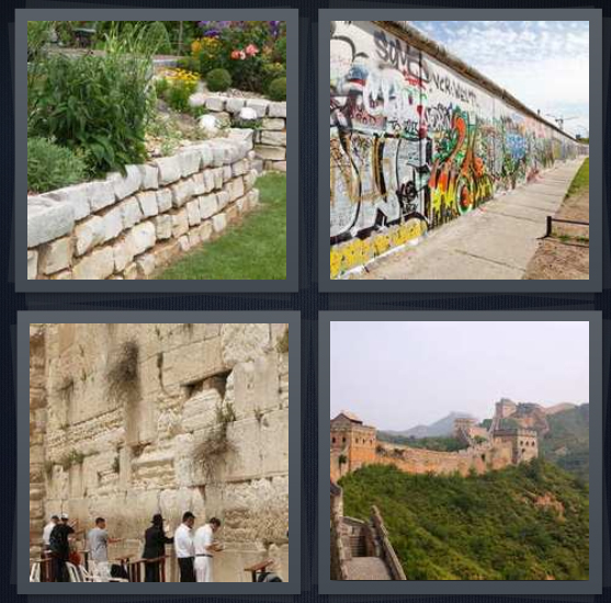 4 Pics 1 Word Answer 4 letters for stone garden in yard, graffiti on street, landmark in Jerusalem with rabbis, Great monument in China