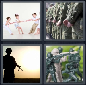 4 Pics 1 Word Answer 3 letters for children pulling on rope, group of army members in line, silhouette of soldier, plastic toy soldiers