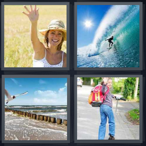 4 Pics 1 Word Answer 4 letters for woman with arm outstretched in greeting, person surfing in ocean, seagull by edge of sea, girl student with backpack going to school