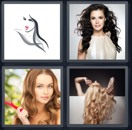 4 Pics 1 Word Answer 4 letters for sketch of model with hair, curly brown hair, woman holding red comb, model with blond curls
