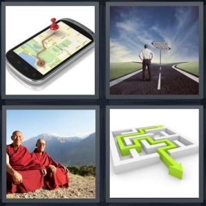 4 Pics 1 Word Answer 3 letters for GPS on mobile device, man with choice to make paths to take, monks in red robes on mountain, puzzle with green arrow