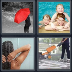 4 Pics 1 Word Answer 3 letters for man with red umbrella in rain, kids swimming in pool, woman taking a shower, man cleaning floor with machine