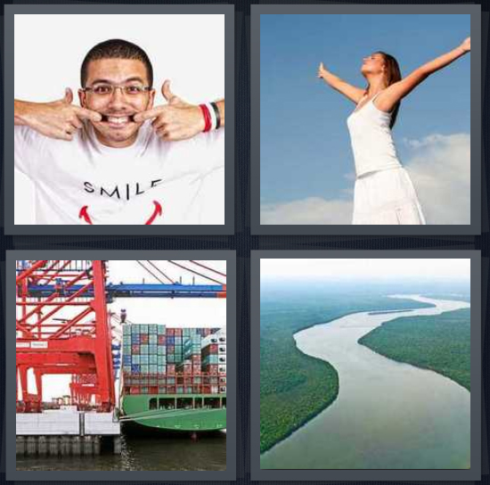 4 Pics 1 Word Answer 4 letters for man with large grin showing teeth, woman wearing white with arms outstretched shipping port, large river in jungle