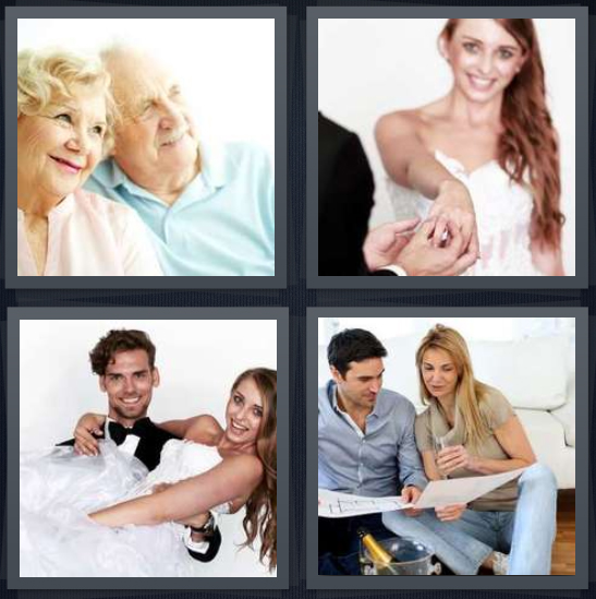 4 Pics 1 Word Answer 4 letters for old married couple, woman getting engaged, couple at wedding being married, couple in living room