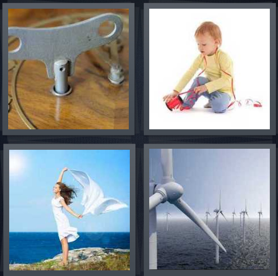 4 Pics 1 Word Answer 4 letters for gear for turning up, baby with ribbon, woman standing in air, turbine to create energy in ocean