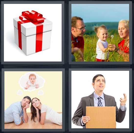 4 Pics 1 Word Answer 4 letters for present with red ribbon, family in field blowing on dandelion, couple dreaming of baby, man in business suit with fingers crossed