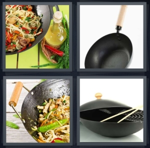 4 Pics 1 Word Answer 3 letters for Chinese food being cooked, pan with wooden handle, stir fry in pot with rice, chopsticks and pan