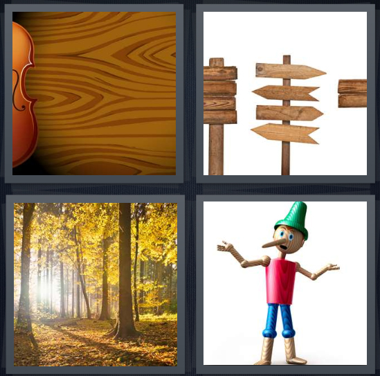 4 Pics 1 Word Answer 4 letters for grain with violin, antique road signs, forest with light, Pinocchio puppet
