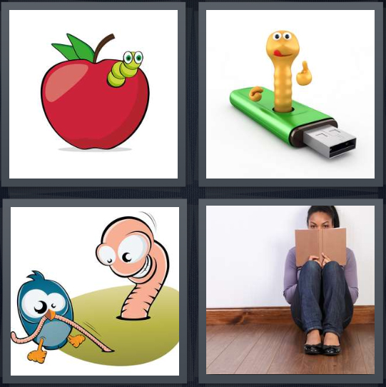 4 Pics 1 Word answers, 4 Pics 1 Word cheats, 4 Pics 1 Word 4 letters apple with bug inside, cartoon bug coming out of flash drive, earlybird eating, woman sitting against wall reading