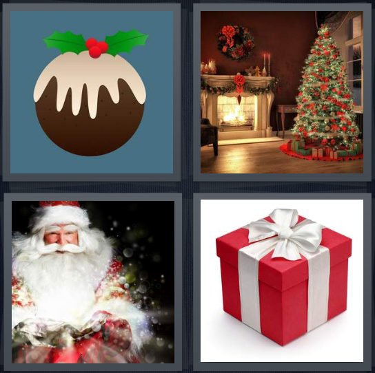 4 Pics 1 Word Answer 4 letters for cartoon of fruitcake, Christmas tree with fireplace, Santa Claus, red present with white ribbon