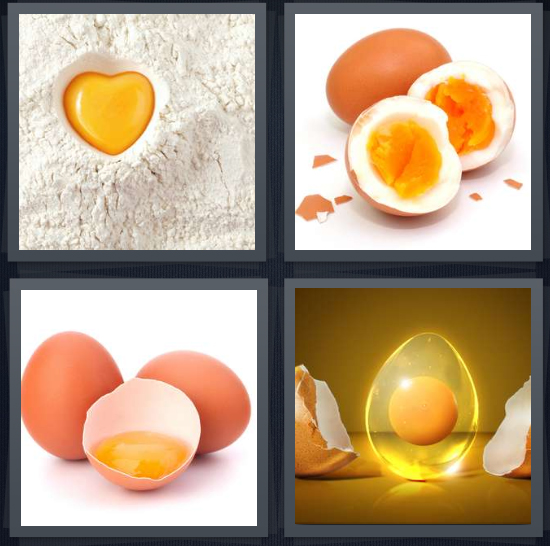 4 Pics 1 Word Answer 4 letters for egg dropped into flour while baking, hard boiled egg, yellow part of egg, membrane around fertilized egg