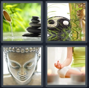 4 Pics 1 Word Answer 3 letters for garden with bamboo and stones, yin yang with bamboo, statue of Buddha, woman meditating