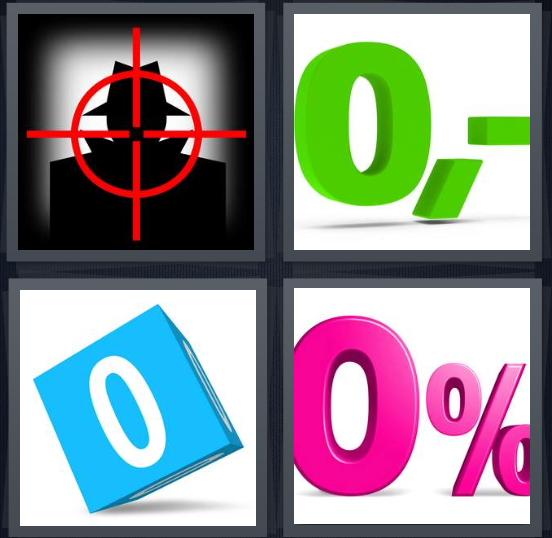 4 Pics 1 Word Answer 4 letters for target in gun viewfinder, negative amount, none image on cube, percentage in pink