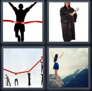 4 Pics 1 Word Answer 7 letters for runner crossing finish line in race, woman in graduation robe with diploma, chart increasing showing growth, woman at top of mountain after climb