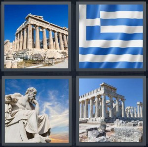 4 Pics 1 Word Answer 6 letters for Acropolis from ancient times, Greek blue and white flag, white statue of man sitting, ancient ruins on hill