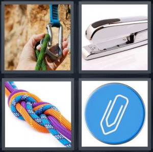 4 Pics 1 Word Answer 6 letters for person rock climbing with metal, silver stapler, multicolored ropes, symbol for paperclip