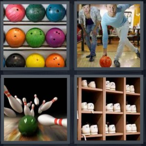 4 Pics 1 Word Answer 7 letters for balls on rack with holes, men playing game bowl, ball hitting pins strike, shoes on shelf