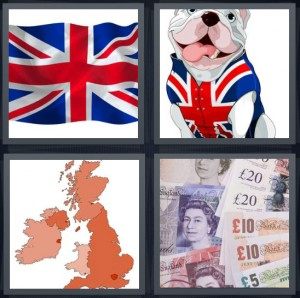 4 Pics 1 Word Answer 7 letters for Union Jack flag red white and blue, bulldog with flag shirt, map of England Wales Scotland, banknotes pounds and Euros