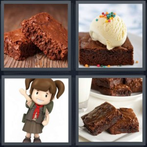 4 Pics 1 Word Answer 7 letters for chocolate cake dessert, sundae with ice cream, girl scout in brown uniform, dessert with milk