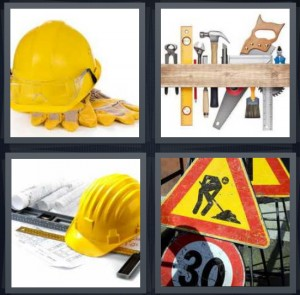 4 Pics 1 Word Answer 7 letters for yellow hardhat and gloves, tools on wall shelf, construction tools blueprint and hat, work sign 30 speed limit