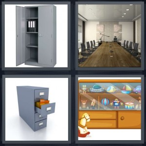4 Pics 1 Word Answer 7 letters for metal closet with drawers, long conference table, metal filing drawers, display case with toys behind glass