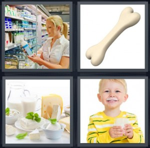 4 Pics 1 Word Answer 7 letters for woman in pharmacy buying vitamins, bone on white background, different types of cheese, boy with glass of milk