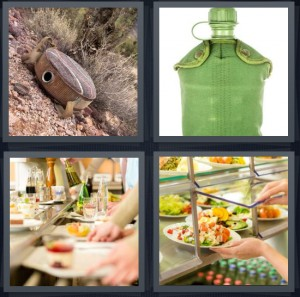 4 Pics 1 Word Answer 7 letters for desert with water bottle army, bottle for water camping, people getting food at cafeteria, buffet dinner