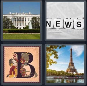 4 Pics 1 Word Answer 7 letters for White House in Washington DC, word spelling news on dice, letter B in storybook, Eiffel Tower in Paris