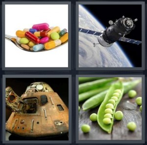 4 Pics 1 Word answers, 4 Pics 1 Word cheats, 4 Pics 1 Word 7 letters medicine pills on spoon, space shuttle orbiting Earth, space module like submarine, peas in pod