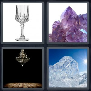 4 Pics 1 Word Answer 7 letters for goblet made of glass for fancy cocktail, amethyst rocks shining, glass chandelier from ceiling, iceberg with sunshine