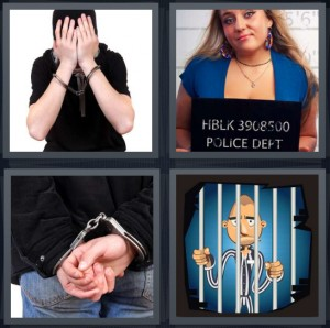 4 Pics 1 Word Answer 7 letters for man being arrested, woman taking mugshot after arrest, man in handcuffs, cartoon man in jail