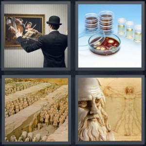 4 Pics 1 Word Answer 7 letters for orchestra player in front of orchestra painting, bacteria in dish science, Chinese terracotta warriors, DaVinci sketches of man