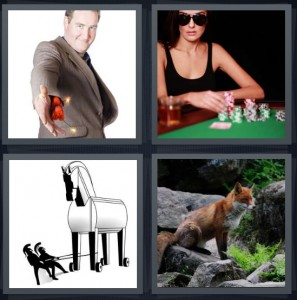 4 Pics 1 Word Answer 7 letters for magician with dynamite in sleeve, woman gambler at poker table with chips, Trojan horse going into battle, fox in woods on stone