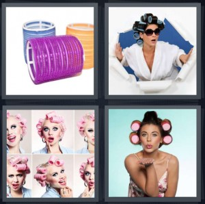 4 Pics 1 Word Answer 7 letters for velcro rollers for hair, woman tearing through paper wearing sunglasses, model with rollers in hair, woman blowing kiss curling hair with rollers