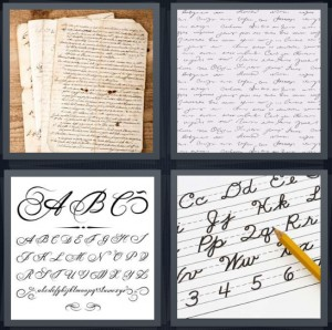 4 Pics 1 Word Answer 7 letters for note written in ancient script, writing in old letter, script A B C, letters in school