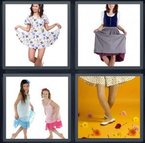 4 Pics 1 Word Answer 7 letters for girl with dress splayed out, milk maid outfit, little girls in dresses, dancer with flowers on yellow stage