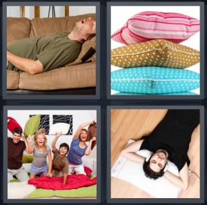 4 Pics 1 Word Answer 7 letters for man taking nap on brown couch, stack of colorful pillows, kids having pillow fight, man listening to music resting