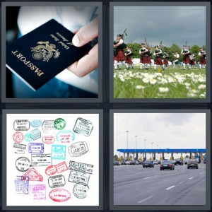 4 Pics 1 Word Answer 7 letters for American passport cover, Scottish bagpipe players, travel stamps in passport, border control on highway