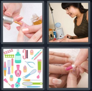 4 Pics 1 Word Answer 7 letters for polishing nails, woman getting manicure, nail symbols, woman getting nails done with hands