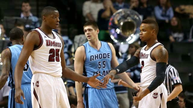 Gordon and teammate Cady Lalanne during a game against Rhode Island in the Atlantic 10 tournament. (Getty)