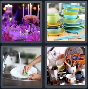 4 Pics 1 Word Answer 6 letters for romantic place setting at restaurant with candles, green and blue plates and utensils, washing plates at sink with gloves, dirty plates at sink