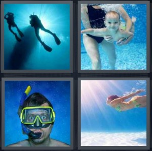 4 Pics 1 Word Answer 6 letters for scuba divers under water with sun, baby underwater learning to swim, man wearing snorkling goggles, woman swimming in sun rays underwater