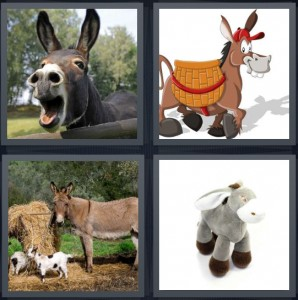 4 Pics 1 Word Answer 6 letters for animal making bray noise, cartoon horse with large teeth, farm with hay and animals, stuffed animal toy