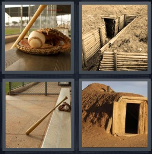 4 Pics 1 Word Answer 6 letters for baseball glove with ball and bat, mud tunnel with fortified walls, baseball bench with bat, mud hut