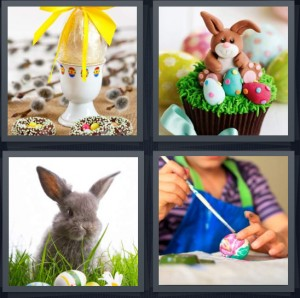 4 Pics 1 Word Answer 6 letters for egg with yellow ribbon, cupcake with rabbit frosting, bunny rabbit with eggs, woman painting egg for holiday