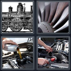 4 Pics 1 Word Answer 6 letters for sketch drawing of steam train, fan turbine, pouring oil into car, mechanic working under hood of car with computer