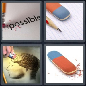 4 Pics 1 Word Answer 6 letters for word impossible being removed, pencil with graph paper, drawing of brain being rubbed away, rubber for removing pencil lines
