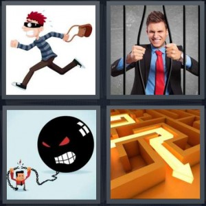 4 Pics 1 Word Answer 6 letters for cartoon thief running away with bag, white collar criminal in jail cell bending bars, ball and chain, exit route from maze